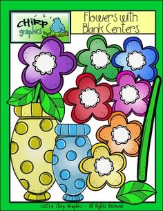 Flowers with Blank Centers Clip Art Set - Chirp Graphics from Chirp Graphics on TeachersNotebook.com -  (19 pages)  - This set of 19 flower images includes clip art of flowers, stems, leaves, and vases.  Each png image comes in blackline, black and white, and one or more colours.