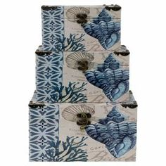 "Crafted from wood and featuring an artful ocean-themed motif, these storage boxes are perfect for stowing cherished trinkets or creating a coastal vignette.     Product: Small, medium and large storage box Construction Material: WoodColor: Cream and blueDimensions: Small: 4.75"" H x 8.25"" W x 6.25"" DMedium: 5.5"" H x 10.25"" W x 6.25"" DLarge: 6.5"" H x 11.75"" W x 7.75"" D"