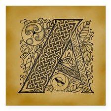 "Celtic Letter A Square Sticker 3"" x 3"""