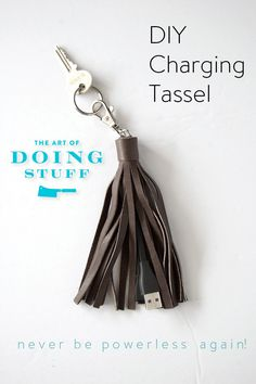 camouflage a short USB charging cord in a stylish leather tassel keychain