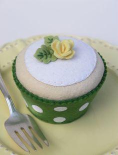 Felt Cupcake Vanilla With Grass Green Polka Dot by ViviansKitchen, $28.00