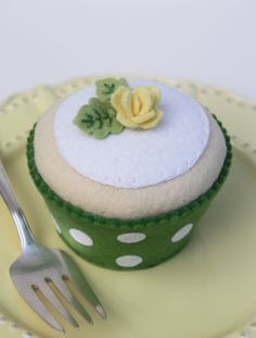 Felt Cupcake Vanilla With Grass Green Polka Dot by ViviansKitchen, $28.00