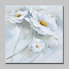 Pintada a mano Naturaleza muerta / Floral/Botánico Pinturas de óleo,Modern Un Panel Lienzos Pintura al óleo pintada a colgar For 2016 - €49.97