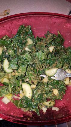 Kale, apple, cucumber soup with basalmic vinegarette