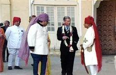 Thakur Bhawani Singh Ji Bagri with Prince Charles and Maharaja Gaj Singh Ji Jodhpur (Bagri)