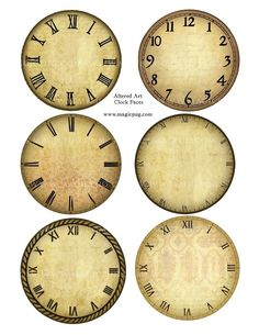 This listing is for an 8.5 x 11 digital collage sheet with 6 clock faces, each 3.5. Ive used different antique textures.    PLEASE NOTE: This listing is for a DIGITAL sheet, meaning that I will send this sheet to your email as a JPG. The images are crisp and clear and made in 300dpi. They are great printed.    MAGIC PUGS TERMS OF USE/ANGEL POLICY:    Magic Pug images are sold to you as a craft supply and are intended for use only for handmade items. You may sell these handmade items.    ...