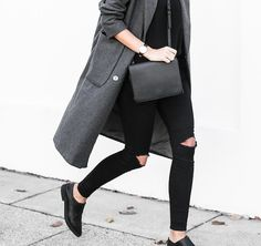 Grey coat and black jeans