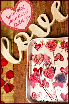 These Pink Heart Lollipops are easy for kids to make, only require 2 ingredients, and make a cute treat to wrap up and give as gifts this Valentine's Day!