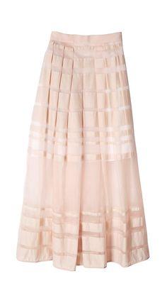 Tibi - Striped Organza Midi Skirt