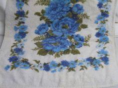 Vintage 60s MOD Blue Floral Cotton Cannon Bathroom Bath Towel