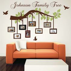 Customizable Picture Frame Branch Wall Decal - Trendy Wall Designs - Trend Home Picture Wall, Picture Frames, Wall Design, House Design, Design Hotel, Family Tree Photo, Family Wall, Family Tree Wall Decal, Tree Wall Art