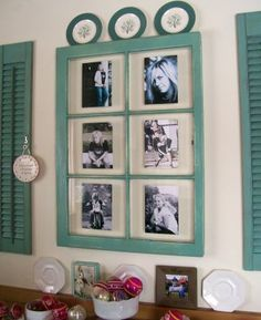 window shutters repurposed    Emily . Just tape photos to the back of the glass in an old window ...