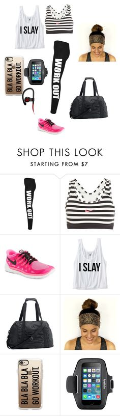 """""""Gym outfit"""" by lauryngrimes ❤ liked on Polyvore featuring WearAll, NIKE, Under Armour, Casetify, Belkin and Beats by Dr. Dre"""