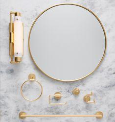 36in. Round Metal Framed Mirror Oil-Rubbed Bronze Bathroom Hardware, Bathroom Fixtures, Bathrooms, Gold Bathroom, Master Bathroom, Half Bath Remodel, Mid Century Bathroom, Bathroom Accessories Luxury, Classic Bathroom