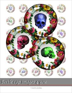 Digital Collage Sheet - Colorful skull - 1 inch circles size Bottle cap images for resin jewelry pendants and magnets