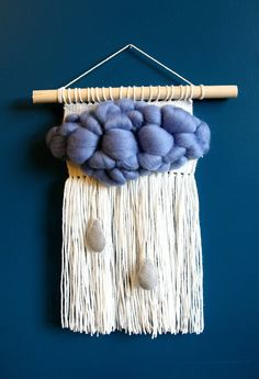Blue cloud | Woven boho wall hanging | Tapestry | Boho decor | Nursery tapestry weaving | Nursery art decor by babkatka on Etsy