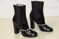 $1595 NEW CHANEL Black crackled patent leather PEARLS  Boots Shoes 38 41 RARE!