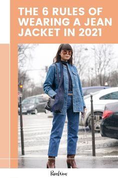 """Here are six fashion """"rules"""" (in the words of Captain Barbossa, they're more like guidelines really) we're following in 2021 to get the most out of our denim outerwear. #jean #jacket #denim Jean Jacket Styles, Jean Jacket Outfits, Fashion Outfits, Denim Fashion, Fashion Trends, Black Jeans Outfit, Denim Trends, Oversized Jacket, Embroidered Jeans"""