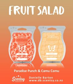 Mix Paradise Punch and Camu Camu Scentsy Bars to create Fruit Salad. Order at www.tosmell.scentsy.us and follow me on Facebook at Facebook.com/independentscentsyconsultantbobbidall #Mixology #ScentsyRecipe #ScentsyMix