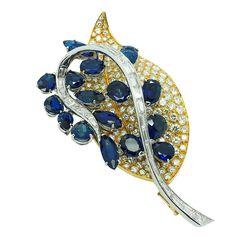 1970s Massoni No Heat Sapphire Diamond Gold Brooch