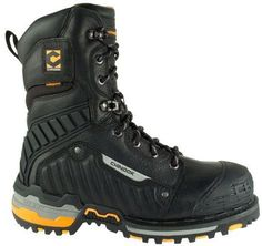 Chinook Scorpion two boots 9 inch heigh black boots with reflective strip on the side orange accents on the heel and sole leather rubber and hard plastic toe cap steel toe lace up Two Boots, Black Boots, Combat Boots, Fashion Shoes, Mens Fashion, Mode Masculine, Sport, Winter Boots, Leather Boots