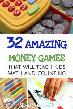 amazing money games for kids that will teach math, counting, addition, subtraction and help with valuation. Source by momscollab Money Games For Kids, Easy Games For Kids, Math For Kids, Educational Activities For Kids, Indoor Activities For Kids, Stem Activities, Learning Money, Kids Learning, Learning Tools