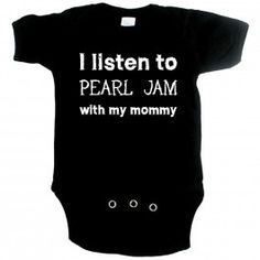 Become a rockstar with this ''I listen to Ramones with my mommy'' rock baby onesie. Do you and your baby love to listen to the Ramones as much as we do? Stay comfortable all day with this soft cotton rock baby onesie! Pearl Jam, Pregnant With Boy, Baby Pearls, Rock T Shirts, Losing A Dog, Ramones, Onesies, Baby Onesie, Hard Rock