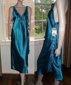 Tom Bezduda Cinema Etoile NWT Long Nightgown Side Loops Slit Teal Embroidered #CinemaEtoile #Gowns