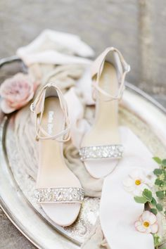 Nude metallic wedding heels with intricate jeweled toe and criss cross ankle straps bridesmaid shoes. Purple Wedding Shoes, White Bridal Shoes, Wedding Heels, Ivory Wedding, Wedding Hair, Bridal Party Shoes, Shoe Advertising, J Shoes, Dance Shoes