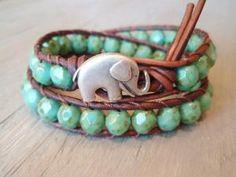 Bohemian leather wrap bracelet  green turquoise by slashKnots
