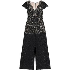 ALICE + OLIVIA   Flared corded lace jumpsuit (23,595 INR) ❤ liked on Polyvore featuring jumpsuits, high waisted jumpsuit, lace jumpsuits, flared jumpsuit, v neck jumpsuit and short sleeve jumpsuit