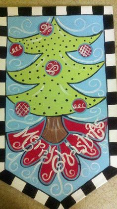 Christmas Tree Door Banner by aimdoodles on Etsy, $40.00