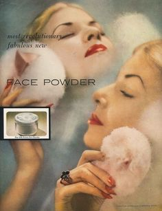 Vintage Hairstyles vintage face powder puff ad - I love powdery scents – they can be cooling in the summer, and cozy in cooler weather. Of all my favourite scents and perfumes, the ones that evoke a clean powdery feeling are among my most w… Vintage Makeup Ads, Vintage Vanity, Vintage Glamour, Vintage Beauty, Vintage Ads, Vintage Posters, 1940s Makeup, Powder Puff, Face Powder