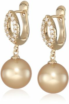 Baggins Yellow Gold with Diamonds and Golden South Sea Pearls Marquis Earrings