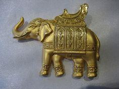 JJ Jonette Signed Gold Tone Elephant Brooch Pin | eBay