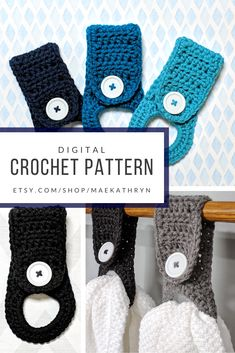 Crochet Pattern for a Kitchen towel holder, Crochet hand towel holder, Hanging kitchen towels with button This is a super easy pattern for a crochet kitchen towel holder. You can attach it to your stove an Crochet Towel Holders, Crochet Dish Towels, Crochet Towel Topper, Crochet Kitchen Towels, Kitchen Towels Crafts, Kitchen Towels Hanging, Towel Crafts, Hanging Towels, Kitchen Towel Holders