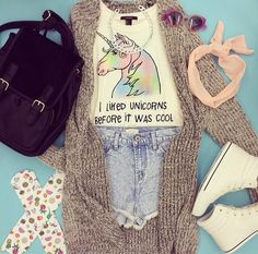 shirt unicorn cute colourful colour pastel rainbow cardigan knit horse pink girly underwear hat sunglasses sweater bag shoes jewels back to school tank top shorts forever21.com t-shirt blue unicorns l hipster hilarious awsomeness unicorn glasses unicorn tee quote on it summer summer outfits cool top hair accessories accessories silver silver chain chain backpack purse black purse black bag denim denim shorts donut socks socks grey cardigan unicorn shirt book bag bookbag High waisted shorts…