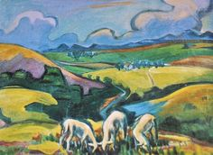 Other Original South African Art - Maggie Laubser by Johan van Rooyen - SA Art Library Series was sold for on 2 Mar at by JeannineD in Sedgefield South African Artists, Old Master, Landscape Art, Faeries, Cattle, Painting Inspiration, Sheep, Arts And Crafts, Drawings