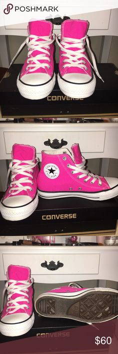 High top converse Worn once or twice size 8 women, but fit tight like a 7. Comes with shoe and brand new shoe strings. Will negotiate price. Converse Shoes Sneakers