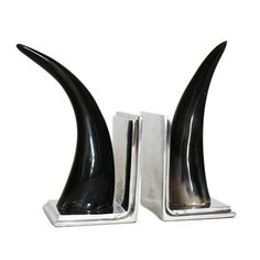 JH067- Pair of 1970s Horn Bookends - Dering Hall
