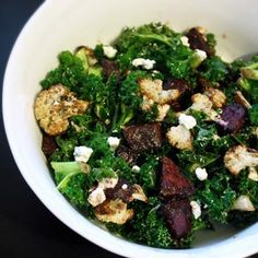 Warm Kale Salad with Roasted Beets, Cauliflower, and Goat Cheese Recipe