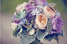 Found on Weddingbee.com Share your inspiration today!  Mix of brooch bouquet and real flowers.  I think I'm in LOVE!!!!