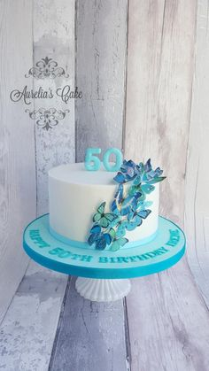 Butterfly cake - cake by Aurelia's Cake Butterfly Birthday Cakes, Cute Birthday Cakes, Butterfly Cupcakes, Beautiful Birthday Cakes, Birthday Cakes For Women, Beautiful Cakes, 50th Birthday, Pretty Cakes, Cute Cakes