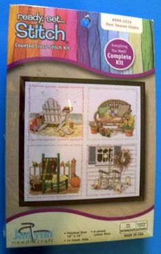 NIP Janlynn Counted Cross Stitch Four Season Chairs Complete Kit #JanlynnNeedlecraft #Frame