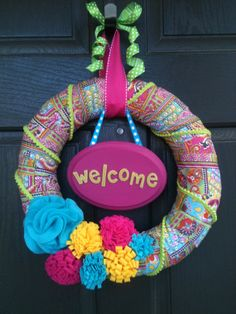 Colorful Spring/Summer Welcome Wreath by PolkadotsOriginals