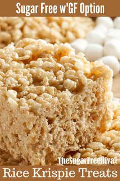 This is How to Make the best Sugar Free Rice Krispie Treats. Gluten Free Rice Krispie treat option as well as cocoa flavored options. Sugar Free Desserts, Sugar Free Recipes, Dessert Recipes, Ww Desserts, Sugar Free Rice, Gluten Free Rice, Sugar Free Baking, Lactose Free, Cure Diabetes Naturally