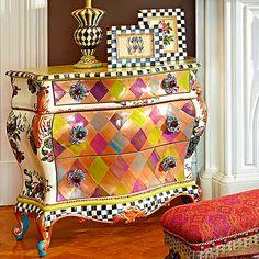 Fall Into Wonderland: MacKenzie-Childs — Très Haute Diva Diy Furniture Plans, Funky Furniture, Art Furniture, Unique Furniture, Painted Furniture, Mackenzie Childs Furniture, Mackenzie Childs Inspired, Mckenzie And Childs, Decoration