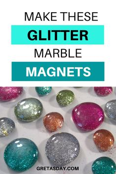 A fun and easy craft project that's great for all ages from kids to adults. These glitter glass marble magnets are budget friendly, super easy, and have great results. They make a great gift and are a perfect Etsy or Craft Show seller, too. Quick And Easy Crafts, Diy And Crafts, Marble Magnets, How To Make Glitter, Glitter Crafts, Bottle Cap Art, Amazing Crafts, Easy Craft Projects, Adult Crafts