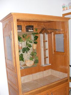 The bird aviary made out of a big screen TV cabinet