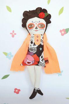 Catrina Doll, Skull Cloth Doll, day of the dead by Mandarinas De Tela #MandarinasDeTela